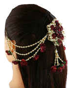 Maroon Colour Pearls Styled Hair Accessories For Girls Trendy