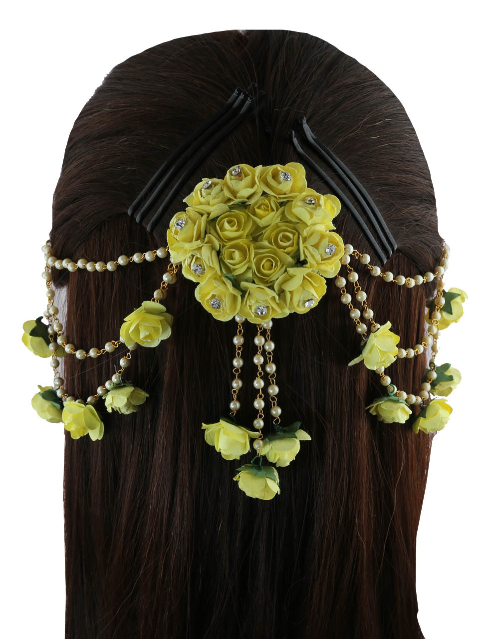 a2b5bf957 Yellow Colour Gold Finish Pearls Styled Fancy Hair Accessories For Girls.  Loading zoom. image