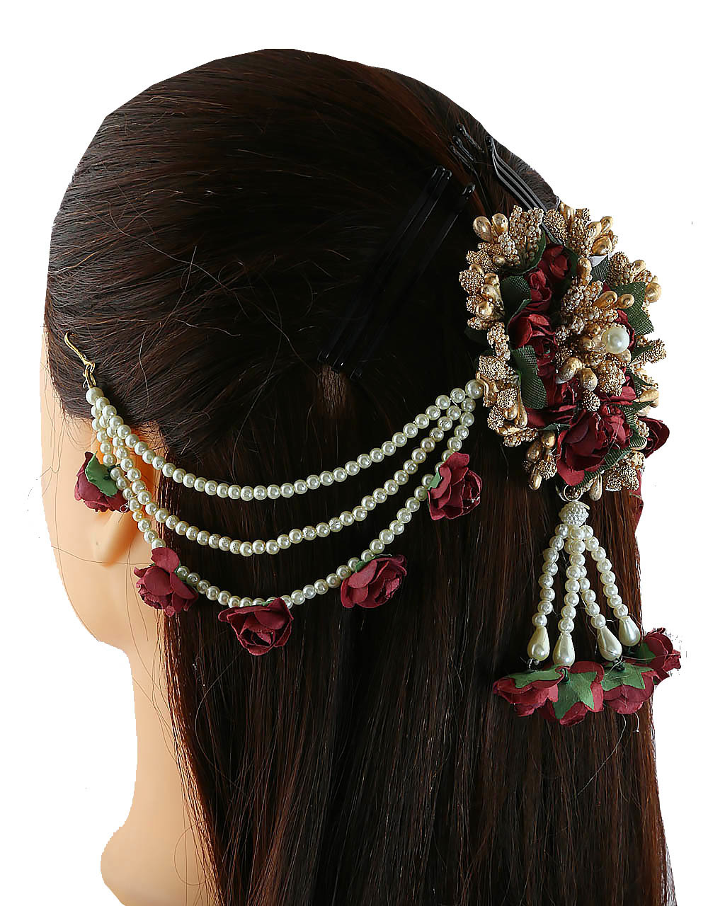 Maroon Colour Gold Finish Beautiful Hair Flower Jewellery For Girls