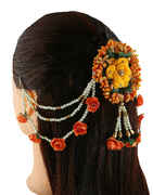 Orange Colour Floral Styled Hair Brooch Pin For Weddings