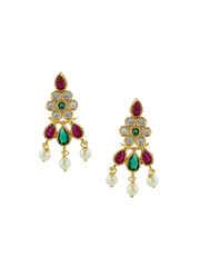 Multi Colour Gold Finish Designer Moti Rani Haar For Weddings