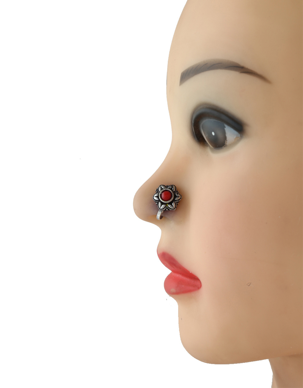 Red Colour Silver Oxidised Finish Fancy Nose Ring For Girls