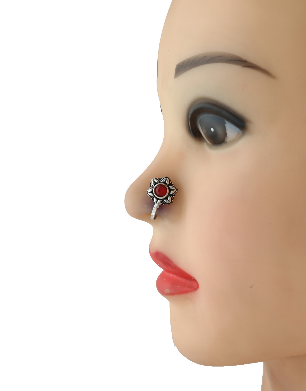 Red Colour Oxidised Finish Floral Nose Stud