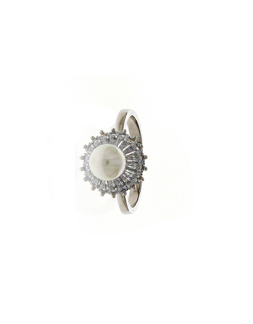 Silver Finish Diamond Pearls Styled Finger Ring