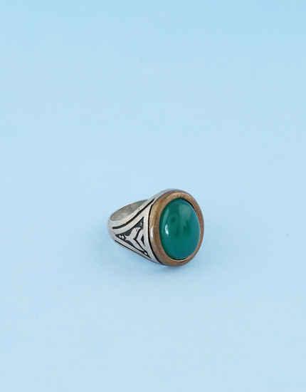 Green Colour Stone Finger Ring For Girls