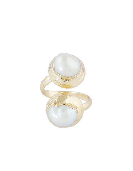 Gold Finish Fancy Pearls Styled Finger Ring