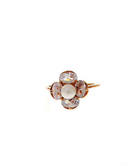 Rose Gold Finish Diamond Fancy Finger Ring