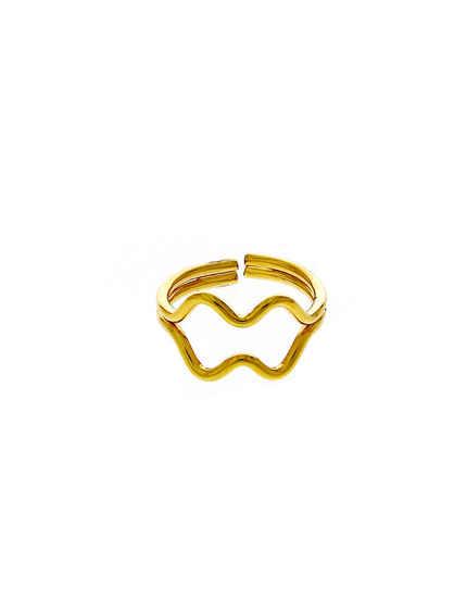 Gold Finish Unique Design Korean Finger Ring