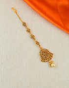 Antique Gold Finish Traditional Mang Tika For Wedding