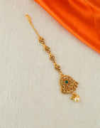Fancy Green Colour Gold Finish Mang Tikka For Girls