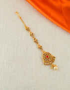 Red Colour Gold Finish Maang Tikka Fancy
