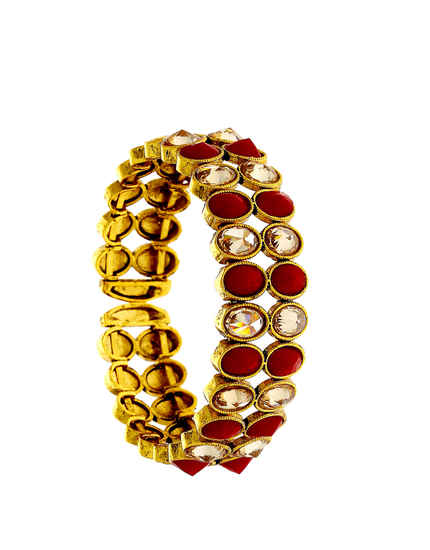 Red Colour Gold Finish Bracelets For Girls Traditional