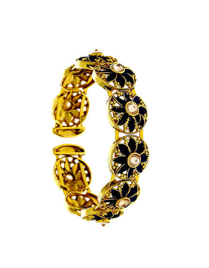 Black Colour Gold Finish Floral Design Wrist Bracelets