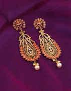 Orange Colour Gold Finish Party Wear Earrings
