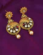 Gold Finish Floral Design Kundan Earrings Fancy