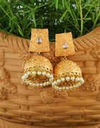 Orange Colour Gold Finish Jhumkaa Earrings Traditional