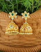Green Colour Gold Finish Designer Jhumkaa For Girls