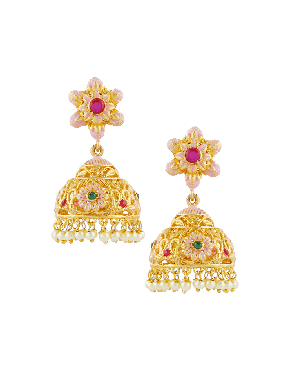 Pink Colour Gold Finish Traditional Jhumkaa Fancy
