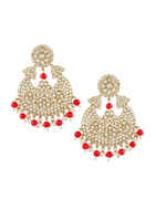 Red Colour Gold Finish Party Wear Earrings For Girls