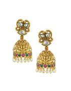 Gold Finish Kundan Earrings For Girls Fancy