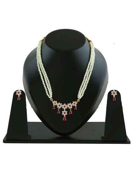 Floral Design Pink Colour Marathi Pearls Rani Haar Fancy