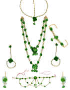 Green Colour Floral Design Pearls Styled Flower Jewellery For Women