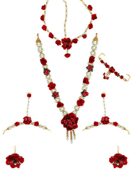 Red Colour Designer Flower Jewellery Styled With Pearls Beads Fancy Flower Necklace