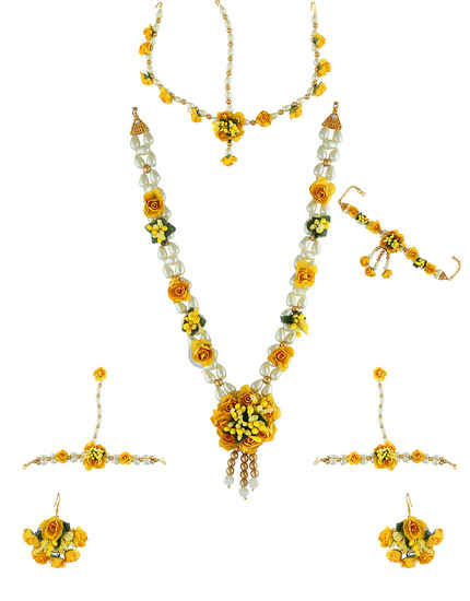Yellow Colour Gold Finish Artificial Flower Moti Jewellery For Girls Trendy