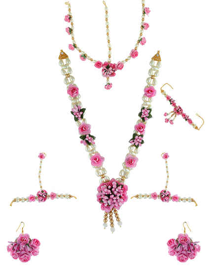 Pink Colour Floral Design Flower Jewellery Styled With Pearls Necklace