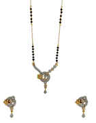 Fancy Gold Finish American Diamond Stunning Short Mangalsutra Fancy