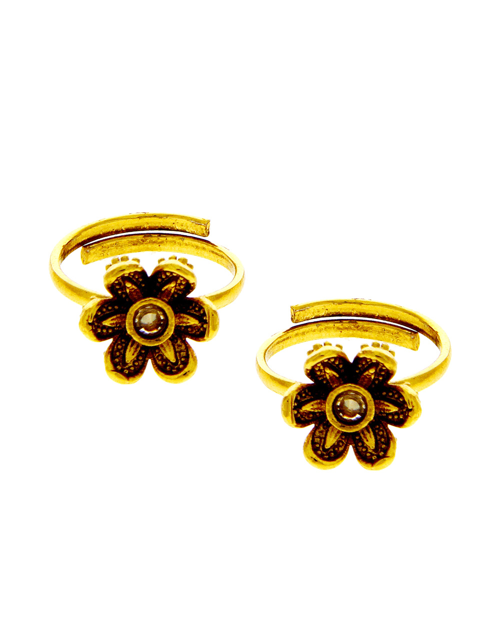 Gold Finish Floral Design Traditional Toe Ring For Women