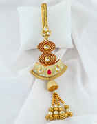 Maroon Colour Gold Finish Kundan Challa For Weddings