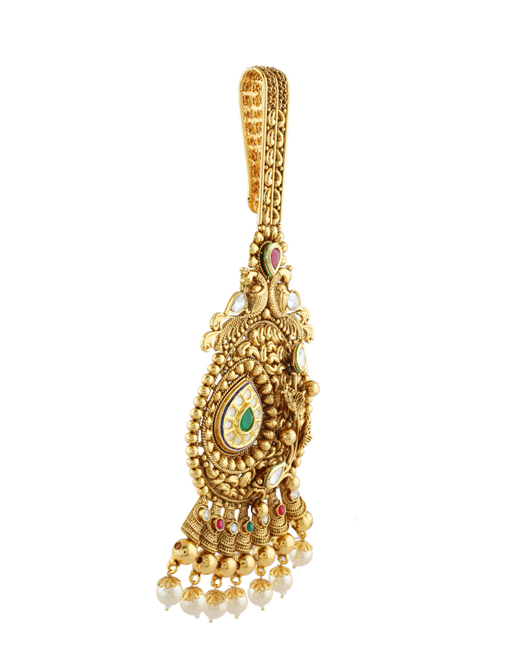 Antique Gold Finish Pearls Styled Fancy Challa