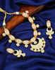 White Colour Gold Finish Designer Mina Work Kundan Jewellery