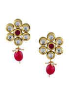 Red Colour Gold Finish Designer Fancy Kundan Pendant Set