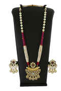Gold Finish Pink Colour Kundan Pendant Set Jewellery