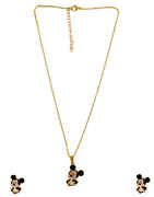 Black Colour Gold Finish Micky-Mouse Chain Pendant Set