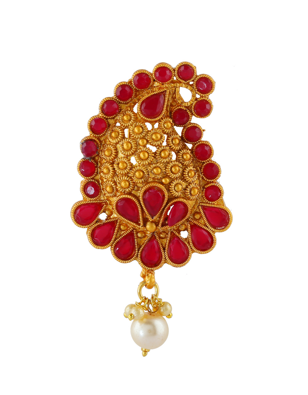 Red Colour Adorable South Matte Finish Pearls Styled Fancy Brooch