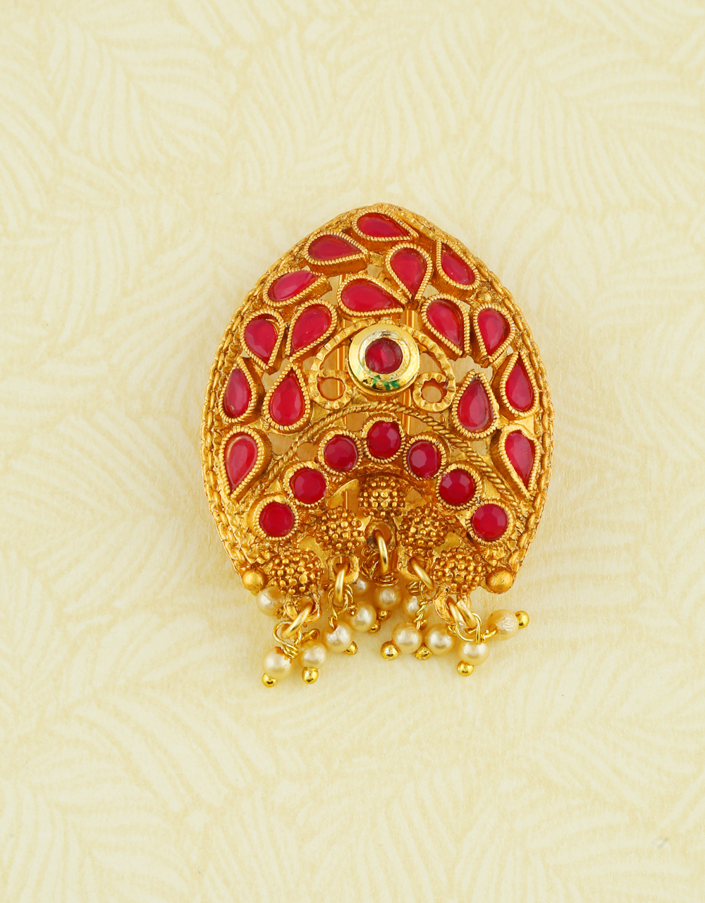 Pink Colour Gold Finish Moti Styled Fancy Brooch Pin For Girls