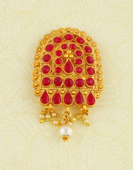 Red Colour Gold Finish Styled With Pearls Beads Fancy Brooch For Wedding