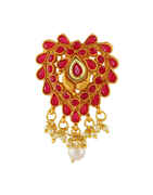Red Colour Gold Finish Stunning With Stones Fancy Hair Brooch