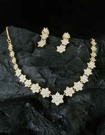 Very Classy Gold Finish Studded With American Diamond Short Necklace
