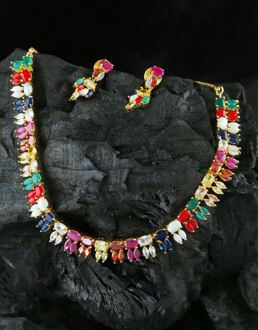 Multi Colour Gold Finish Stunning Diamond Necklace For Girls