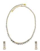 Gold Finish Designer American Diamond Short Necklace For Fancy