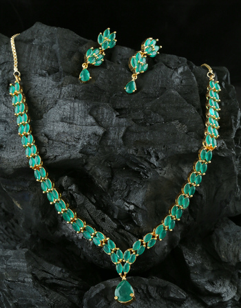 Green Colour Gold Finish Fancy Diamond Necklace Jewellery