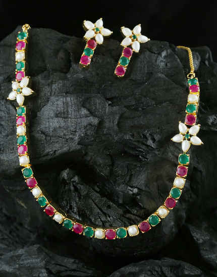 Multi Colour Gold Finish Moti Styled Fancy Short Necklace