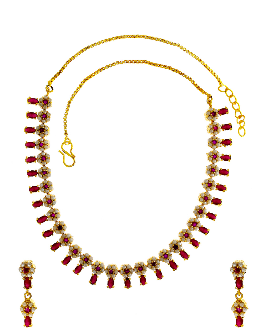 Pink Colour Floral Design Gold Finish Pearls Styled Fancy Necklace
