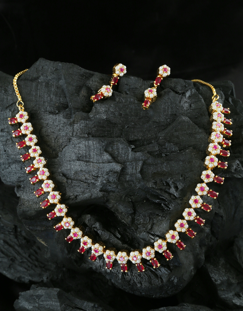 Buy Pink Colour Floral Design Gold Finish Pearls Styled Fancy