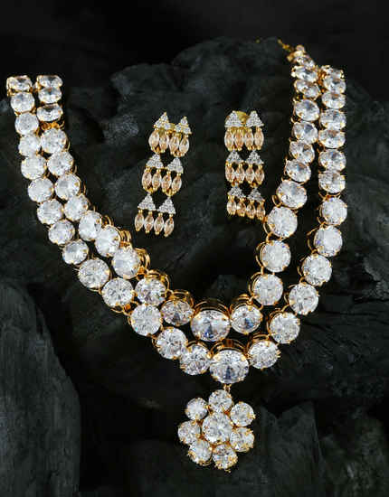 Gold Finish Fancy American Diamond Layered Necklace For Wedding