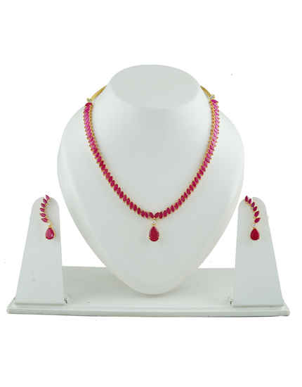 Simple Gold Finish Pink Colour Diamond Necklace For Girls